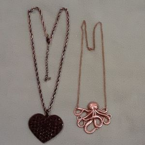 Bundle 2 novelty necklaces heart squid